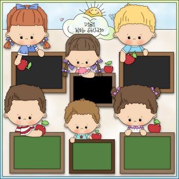 Blank Chalkboard Kids Clip Art 2 - Back To School Clip Art