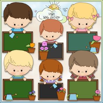 Blank Chalkboard Kids Clip Art Bundle - Back to School - 3 Clip Art & B&W Sets