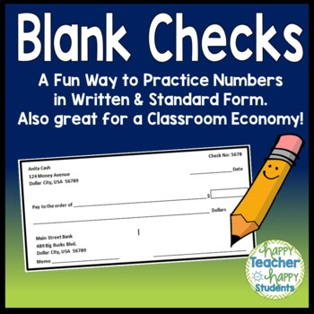 Blank Checks - Fun Way to Practice Writing Large Numbers