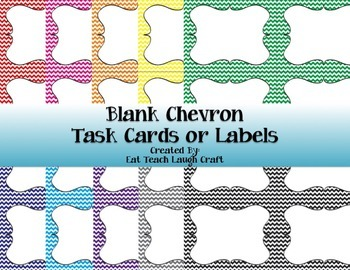 Blank Chevron Task Cards or Labels {10 Colors Available!}