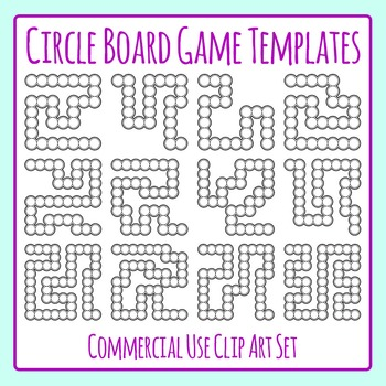 Blank Circle Board Game Templates Clip Art Set for Commercial Use