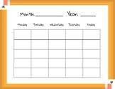 Blank Class Calendar