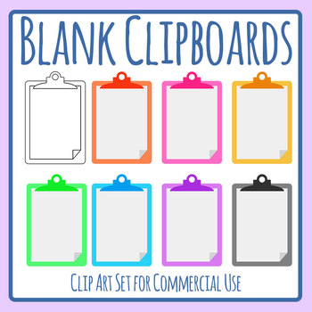 Blank Clipboard Template Clip Art Set for Commercial Use