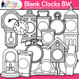 Blank Clock Clip Art | Clock Face Frames & Templates for Measurement | B&W