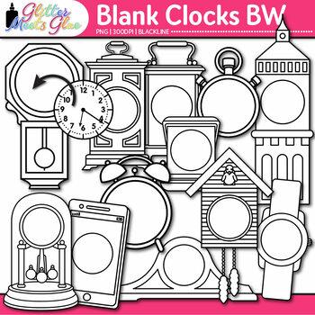 Blank Clock Clip Art | Clock Face Frames & Templates for Measurement | B&W