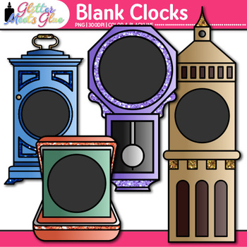 Blank Clock Clip Art: Telling Time Graphics for Math {Glitter Meets Glue}