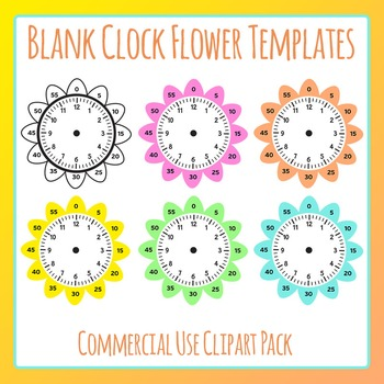 Blank Clock Flowers Template Clip Art Set for Commercial Use Learn Analog Clocks