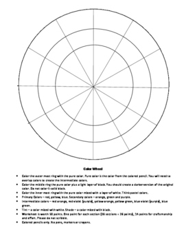 picture about Printable Color Wheel Pdf identified as Blank Shade Wheel Worksheets Education Materials TpT