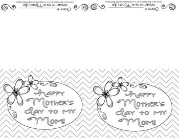 Blank Colorable Chevron Happy Mother's Day Card
