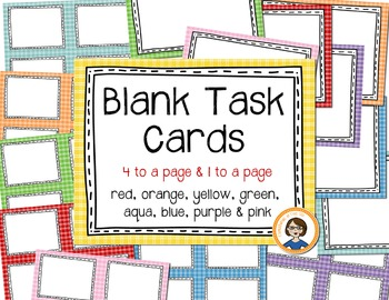 Blank Task Cards - Colored