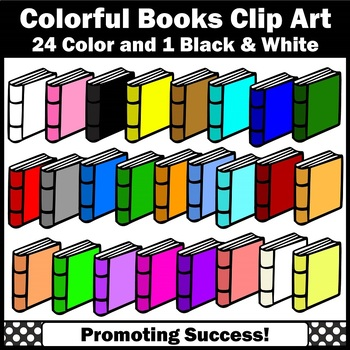 Blank Colorful Back to School Books Clipart, Language Arts Reading Clip Art SPS