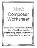 Blank Composer Worksheet