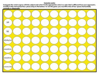Blank Connect Four Game Spanish French German conjugation practice