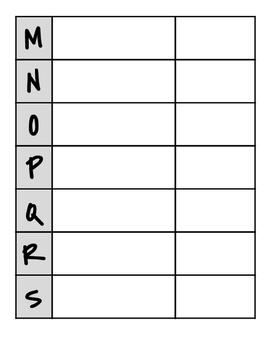 Blank Copy of My ABC Bible Verses: Memorized Verses Recordkeeping Sheet