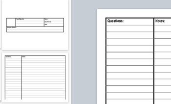 Blank Cornell Note Presentation Template (PPT/KEY)