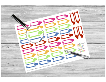 Blank Crayon Stickers PRINTABLE for Teacher Planners