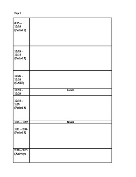 Blank Daily Lesson Plan document