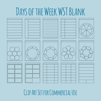 Blank Days of the Week / Weekly Worksheet Templates Clip Art for Commercial Use
