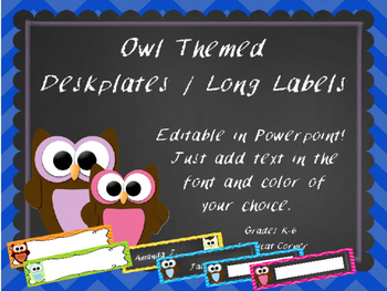 Blank Desk Tags /  Labels - Owls and Chevron Theme - Class