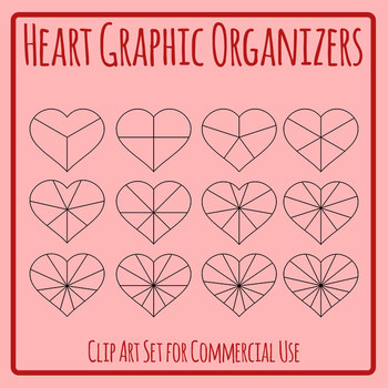 Blank Divided Hearts Graphic Organizer Template for Valentines Day Etc Clip Art