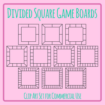 Blank Divided Square Game Board Templates Clip Art Set for Commercial Use