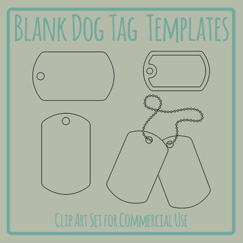 Blank Dog Tag Templates Clip Art Set for Commercial Use