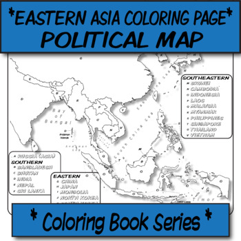 *Coloring Book Page* Eastern Asia Political Map