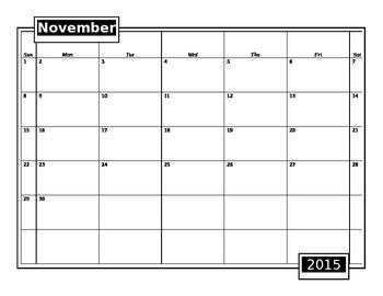 Blank Editable 2015-2016 School Calendar