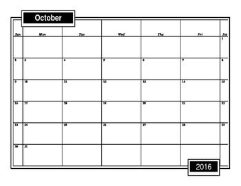 Blank Editable 2016-2017 School Calendar