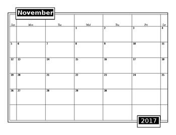 Simple Blank Editable 2017-2018 School Calendar
