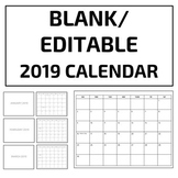 Blank/Editable 2019 Calendar Template - Google Slides