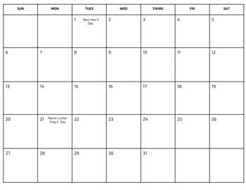 Blank Editable 2019 Calendar Template Google Slides Tpt
