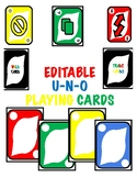"""Jumbo/Large Blank/Editable """"Uno"""" Card Game - All 4 colors and Wild Cards!"""