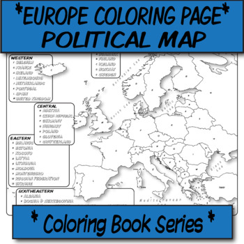 *Coloring Book Page*  Europe Political Map