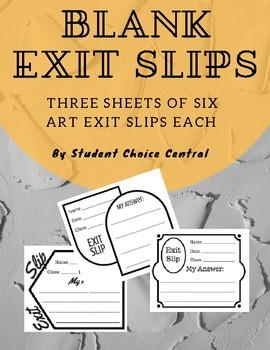 Blank Exit Slips