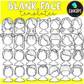 Blank Face Templates Clip Art Bundle  {Educlips Clipart}