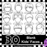 Blank Faces Clip Art Kids