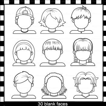 Blank Faces Clip Art Kids