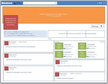 """Blank """"Fakebook"""" Template (modeled after Facebook Timeline format)"""