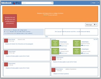 """Blank """"Fakebook"""" Template (modeled after Facebook Timeline"""