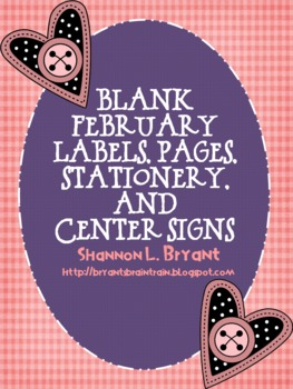 Blank February/Valentine-Themed Labels, Pages, Stationery, and Center Signs