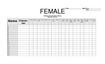Blank Female Costume Chart
