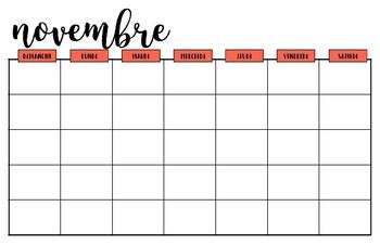 Blank French Calendar