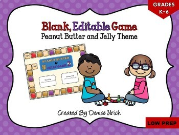 Blank Game Board (Editable Template) - Peanut Butter and Jelly Theme