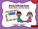 Blank Game Board (Editable Template) - Peanut Butter and J