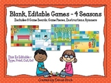 Blank Editable Game Boards for 4 Seasons (8 Games Total)