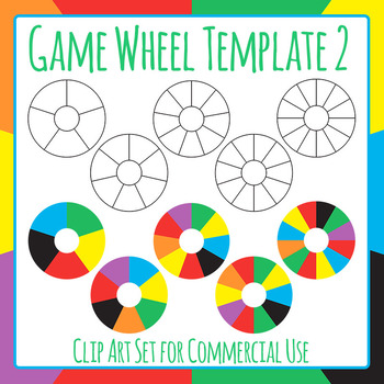 Blank Game Wheel Template 2 Fewer Spots Clip Art for Commercial Use