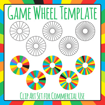 Blank Game Wheel Template Clip Art Set for Commercial Use