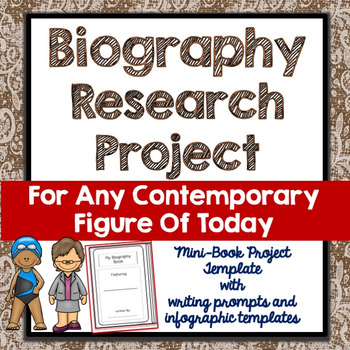 Biography Research Project, Blank Generic Mini Book, Quote, Infographic, Writing