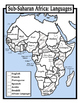 Blank Geography: Sub Saharan Africa Maps: Students Color